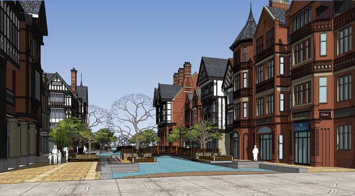 """描述 项目地点在江苏句容,基地位于市中心以南郭庄镇,不远处为建设中的宁杭城际高铁句容西站,交通便捷。商业步行街位于住区的西北角,布置为左右两翼,面对街道转角围合出一个弧形城市绿化广场,由广场向场地内部延伸,形成特色鲜明的内街式""""水街""""商业。建筑采用英式风格,高二至四层,高低起伏,前后错落,通过重点细部的精细刻画以及英式符号的应用,形成富有感染力的建筑形象。商业街同时是社区的人行主出入口,各种休闲设施错落于系列特色商业服务之间,让人仿佛置身在欧洲城市的浪漫街头,体验浓郁的异域情调。"""